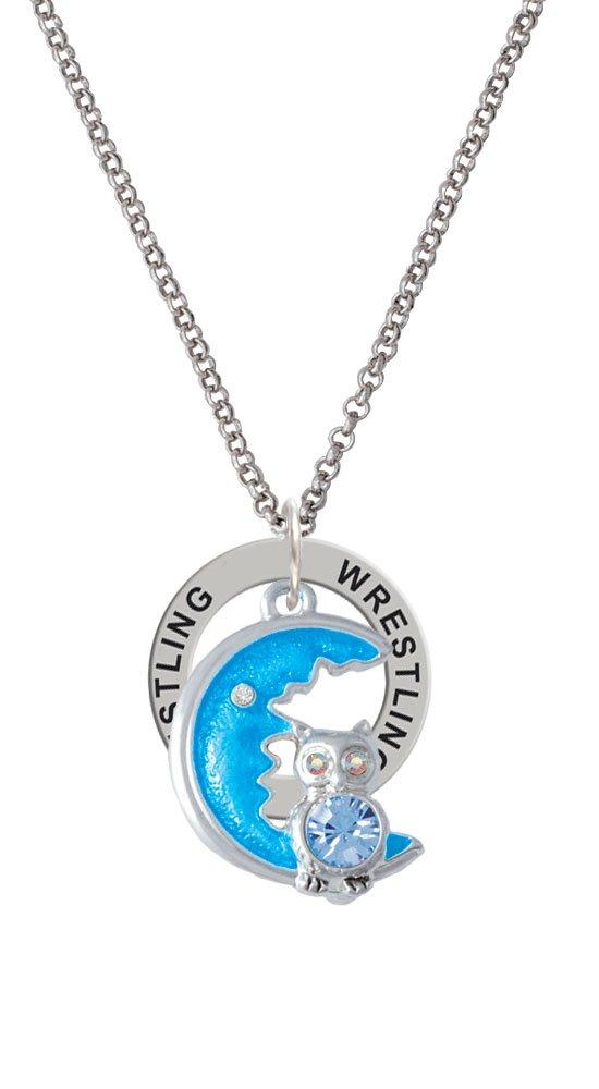 Large Blue Owl on Hot Blue Moon - Wrestling Affirmation Ring Necklace