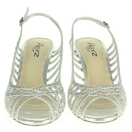 Mujer Señoras Diamant Trim Peep Toe Slingback Boda Nupcial Noche Fiesta Paseo Tacón alto Sandalias Zapatos Tamaño Plata.