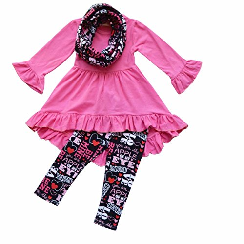 Unique-Baby-Girls-Valentines-Day-Outfit-Ruffle-Top-Legging-Set