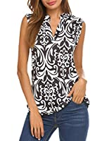 Halife Women's Long Sleeve/Sleeveless Floral Print V Neck Henley Tops Blouse Shirts Tunic