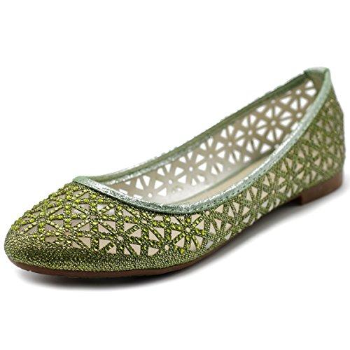 Ollio Scarpe Da Donna Maglia Glitter Comfort Balletto Verde Piatto