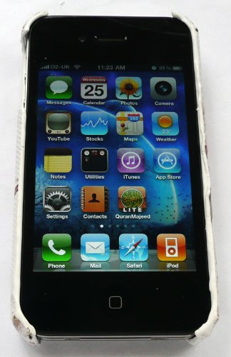 Emartbuy Value Pack Für Apple Iphone 4/4G Hd Lcd Screen Protector + Kompatibel Kfz-Ladegerät + Textured Blütenweiß Clip On Protection Case / Cover / Skin