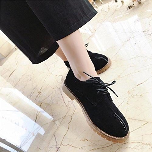 T-juillet Chaussures Mode Oxfords - Plate-forme Confortable Talon Bas Lacets Mubuck Rétro Chaussures Noir