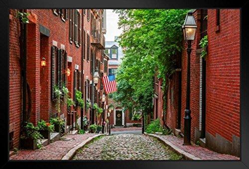 Acorn Street Beacon Hill Boston Massachusetts Photo Art Print Framed Poster 20x14 inch
