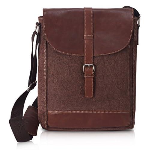 Hot KPL Genuine Cow Leather Canvas Messenger Bag Ipad PRO Bag Laptop Travel Bag for cheap
