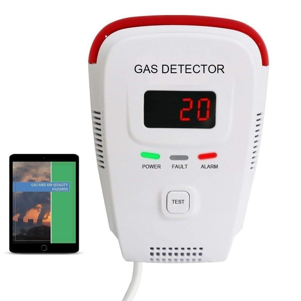 Propane / Natural Gas Detector, Home Gas Alarm; Leak Tester, Sensor; Monitor Combustible Gas Level: Methane, Butane, LPG, LNG; Voice / Light Warning & LED Display, Prevent Fire Explosions; eBook by EG Air