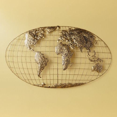 Southern Enterprises Iron World Map Wall Art in Gold Brushed Finish
