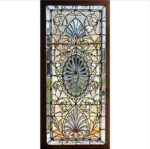 - WYTTT 3D Stained Glass with Bevels Door Sticker for Bedroom Living Room Gift Art PVC Waterproof Decal Door wrap 77x200 cm Door Sticker