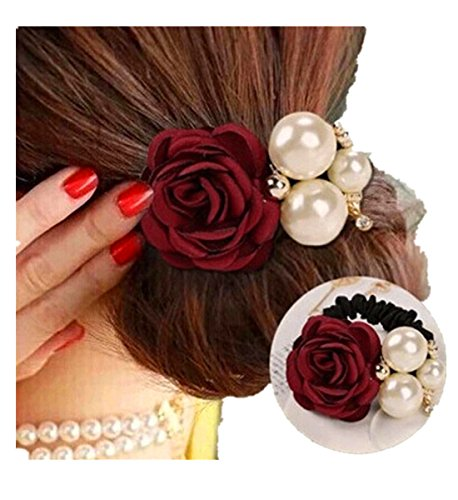 Make Satin Ribbon Roses - Qisc Hair Accessories, 1pcs Women Satin Ribbon Rose Flower Pearls Ponytail Hairband Rope Tie Holder (Red)
