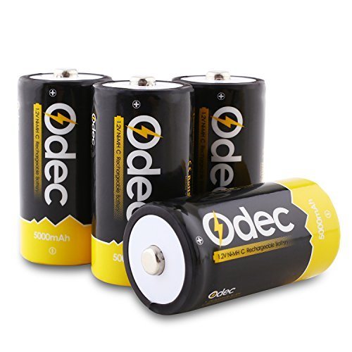 Odec C Rechargeable Batteries, Deep Cycle 5000mAh NiMH Battery Pack LR14/Baby C (4 Pack) -