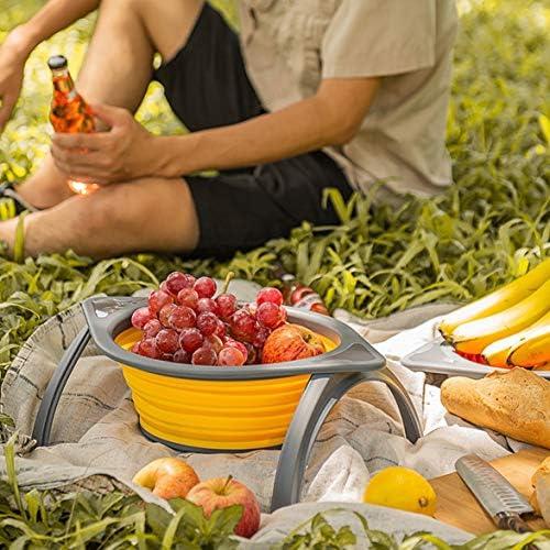 yaoyan Obstkorb mit Auflagerahmen Küche Faltbarer Sieb Obst Gemüse Filterkorb Faltbarer Abtropfkorb