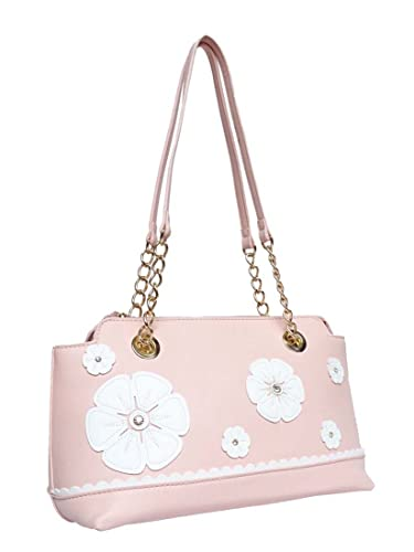 8c00913f8c98 B.Lush Pink Floral Vegan Faux Leather Structured Handbag with a Touch of  Chain by Passion  Amazon.in  Shoes   Handbags