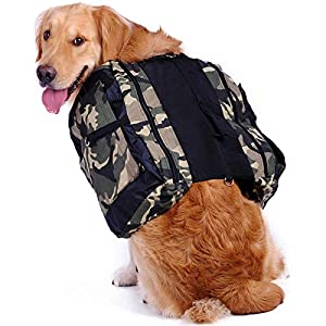 Hengu Mochila para Perro con Grandes Bolsillos, Alforja Bolsa de Hombro Ajustable para Perros Grandes Al Aire Libre Viajar Senderismo Cámping Caminar (con un Tazón de Agua Portátil)