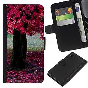 JackGot ( Natura Bella Forrest verde 195 ) Sony Xperia Z2 D6502 la tarjeta de Crédito Slots PU Funda de cuero Monedero caso cubierta de piel