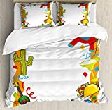 Fiesta Duvet Cover Set Queen Size by Ambesonne, Cartoon Drawing Style Mexican Pinata Taco Chili Pepper Sugar Skull Pattern Guitar, Decorative 3 Piece Bedding Set with 2 Pillow Shams, Multicolor