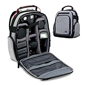 USA GEAR DSLR Camera Backpack with Customizable Interior Storage , a Weather Resistant Bottom and Comfort Padded Back Support for Canon EOS T5 / T6 / T5i / T6i - Nikon D3300 / D5500 / D3400 and More