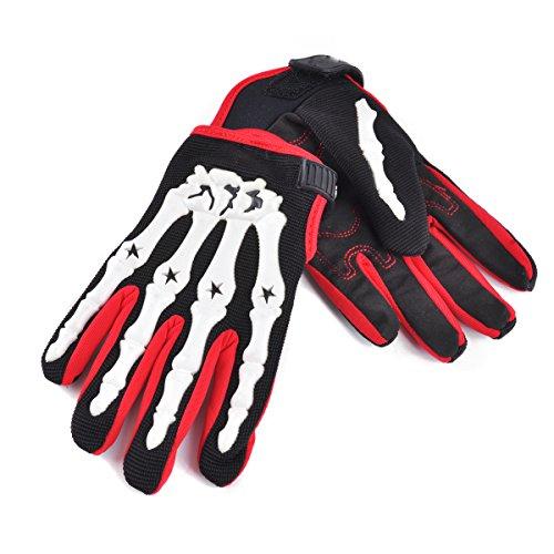 Chitone Full Finger Skeleton Motocross Riding Gloves for Motorcycle (Large, white) ()