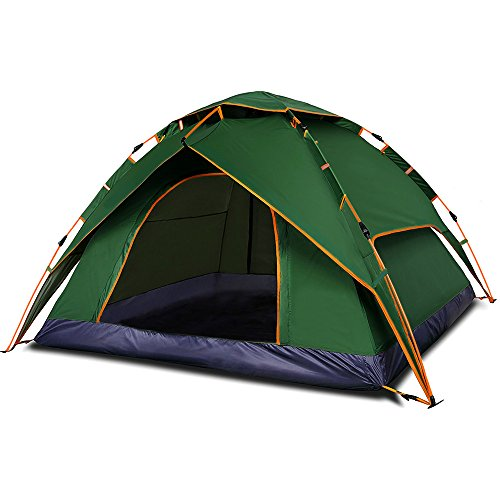 Qwest Premium Automatic Instant Easy Pop Up 2-3 person Camping Tent, Green, Double Door, Double Layer Anti-UV Waterproof Windproof Lightweight Portable, Outdoor Sports Camping Hiking Travel Beach