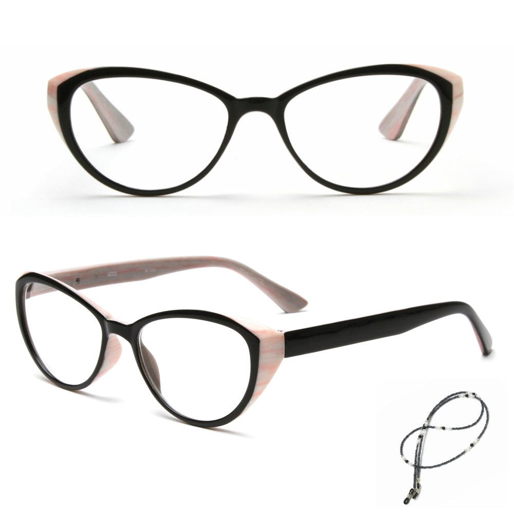 MIDI Cat Eye Vintage Reading Glasses for Women (M-103) Designed in Japan / Fine Spring Hinge for Comfort fit / Available in 3 Chic Colors (+1.25, Pink)