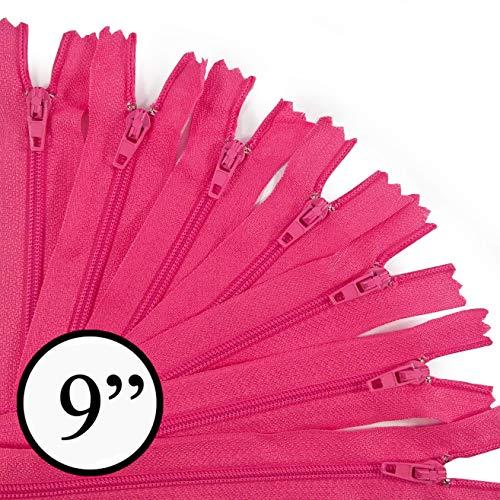 (KGS 9 inch Nylon Zipper Zipper | 100 Zippers/Pack (Hot Pink))