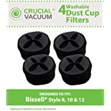 4 Bissell Style 9, 10, 12 Pleated Filters w/Outer Foam Pre-filter; Compare to Bissell Part Nos. 2031183, 2031085ES, 203108532065, 32064, 32065; Designed and Engineered by Think Crucial