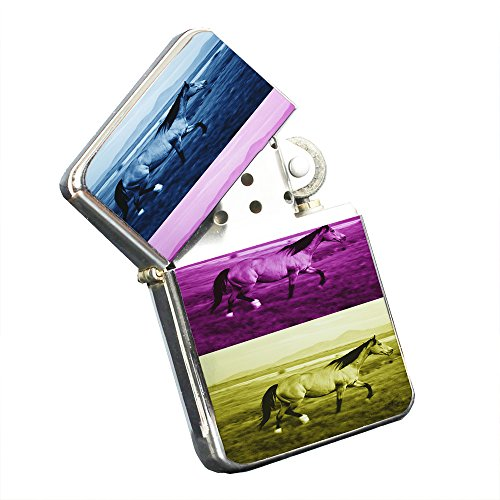 Horse Freedom Tricolor - Silver Chrome Pocket Lighter by Elements of Space by Elements of Space
