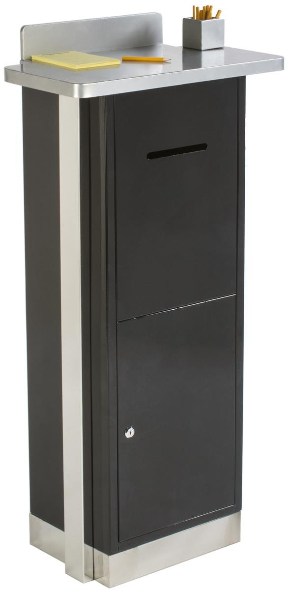 Displays2go Heavy Duty Suggestion Comment Box, Floor Standing Mail Slot, Locking (FLSDSUGBK)