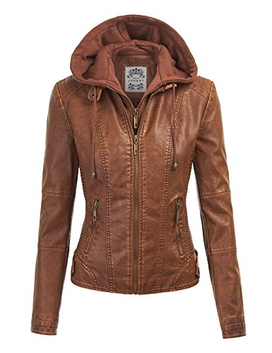 Hooded Leather Motorcycle Jacket (MBJ WJC1044 Womens Faux Leather Quilted Motorcycle Jacket with Hoodie XL CAMEL)
