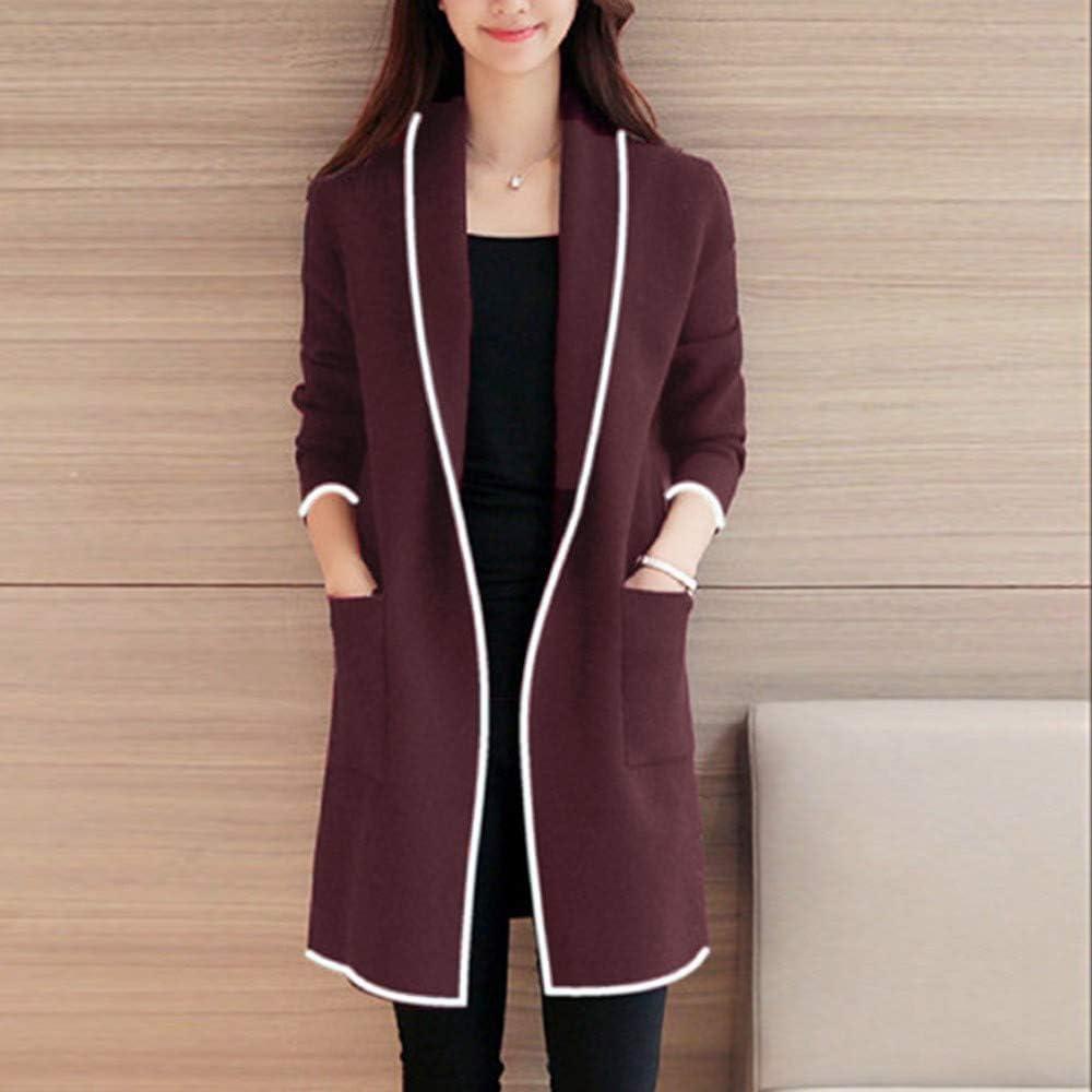 Wadonerful Womens Sweater Coat Open Front Long Sleeve Stripe Wild Elegant Windbreaker Pocket Cardigan Overcoat Outwear