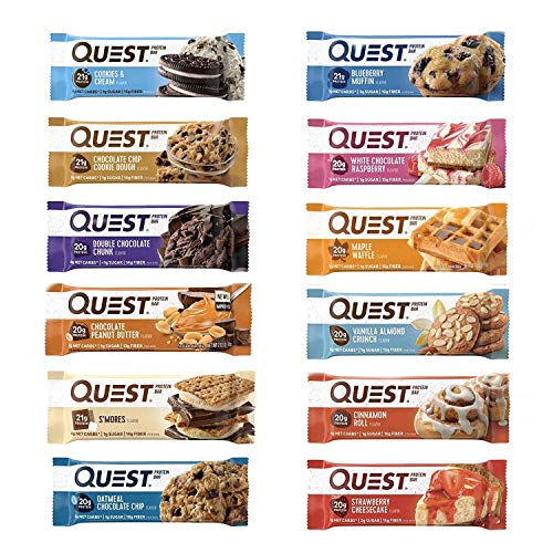 Quest Nutrition Protein Bar Adventure Variety Pack. Low Carb Meal Replacement Bar with 20 Grams of Protein. High Fiber and Gluten-Free. 24 Count.