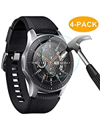 CAVN 4-Pack Compatible Samsung Galaxy Watch 46 mm Screen Protector Tempered Glass, Waterproof Screen Cover Saver Compatible Samsung Galaxy Smartwatch 46mm [Anti-Scratch] [No-Bubble] [Crystal Clear]