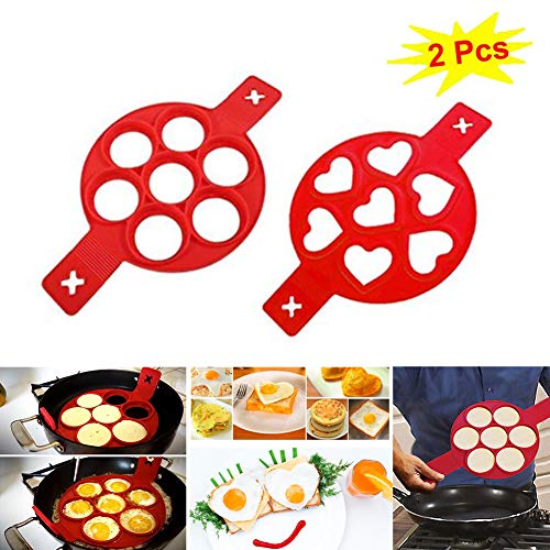 2020 New Upgrade Pancake Molds Ring Fried Egg Mold Reusable Silicone Non Stick Baking Round Mold Egg Rings Muffin Pancake Mould Heart,Dishwasher Safe (Style A+B)