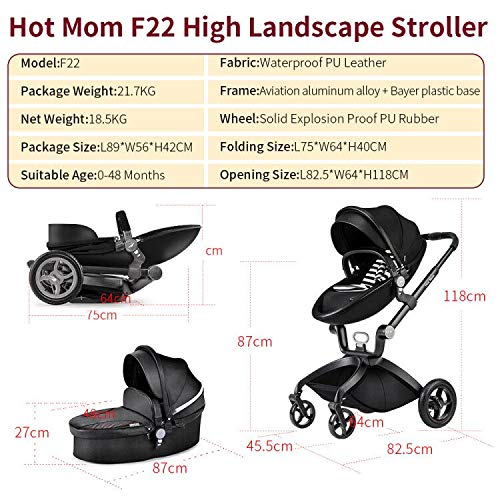 51NfHOVo2kL - Baby Stroller In 2020,Hot Mom Baby Carriage With Adjustable Seat Height Angle And Four-Wheel Shock Absorption,Reversible,High Landscape And Fashional Pram,Black