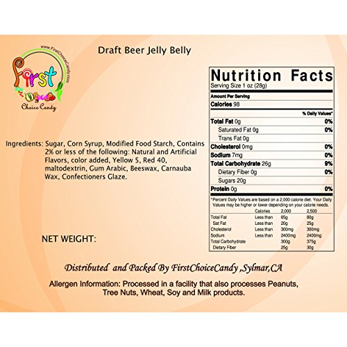 UPC 642896549043, FirstChoiceCandy Jelly Belly Draft Beer Jelly Beans 2 Pound Resealable Bag