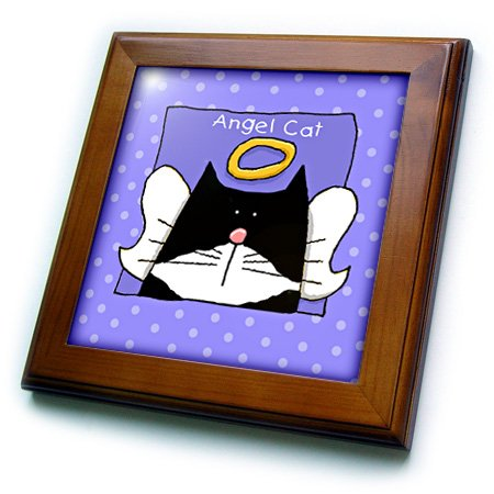 3dRose ft_36666_1 Angel Tuxedo Cat Cute Cartoon Pet Loss Memorial-Framed Tile, 8 by 8-Inch (Home Pets Framed Tile)