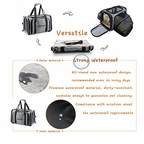 Pet Carrier for Dogs & Cats - Airline Approved Expandable waterproof Soft Animal Carriers -Portable Soft-Sided Air Travel Bag- Eco-friendly material Roomy With a Side Pocket and a Fleece Bed by Odie Tom (Image #6)