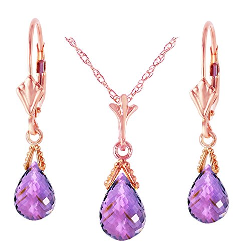 - 14k Rose Gold Jewelry Set: Natural Briolette Purple Amethyst 18