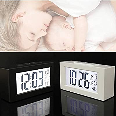 ELEGIANT Large LCD Display Digital Snooze Alarm Clock Thermometer LED Backlight