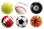 Assorted 6 PCS Golf Balls (Basketball, Football, Volleyball,Tennis, Baseball, 8-Ball) Double-layer Construction 75% Strong Resilience Force Sports Practice Novelty Balls Golf Balls Gift