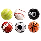 Assorted 6 PCS Golf Balls (Basketball, Football, Volleyball,Tennis, Baseball, 8-Ball) Double-layer Construction 75% Strong Resilience Force Sports Practice Novelty Balls Golf Balls Gift