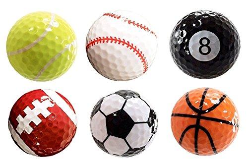 Best Original Costume Ideas (Assorted 6 PCS Golf Balls (Basketball, Football, Volleyball,Tennis, Baseball, 8-Ball) Double-layer Construction 75% Strong Resilience Force Sports Practice Novelty Balls Golf Balls Gift)