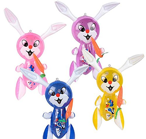 "EASTER BASKET FILLERS., 1 DOZEN, 17"" RABBIT WITH CARROT INFL"