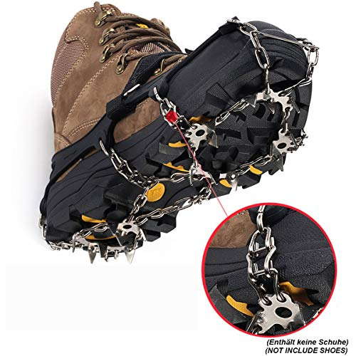 (JHDUID Ice Snow Grips 19 Teeth Strap Type Crampons Walk Traction Ice Cleat Spikes Stainless Steel Chain Boots for Hiking Camping Moutaineering,Lfor42to46)