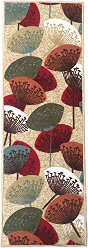 "ADGO Collection Contemporary Floral Flower Design Rubber-Backed Non-Slip Non-Skid Area Rugs, Red Beige, 20"" x 59"""