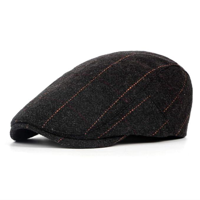 1782f54ffc30b Winter Elderly Men Hat Newsboy Cap Flat Beret Cap for Male Thick Wool Beret Newsboy  Hats