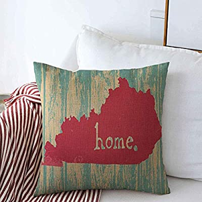 Throw Pillows Cover 18 x 18 Inches Area Kentucky Nostalgic Rustic Vintage State Map America Handdrawn American Americana Calligraphic Cushion Case Cotton Linen for Fall Home Decor