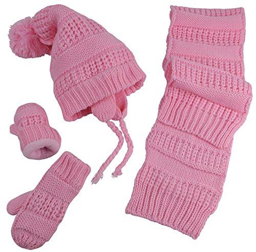 rls and Infants Solid Cable Knit Hat/Scarf/Mitten Accessory Set (2-3 Years, Pink) ()