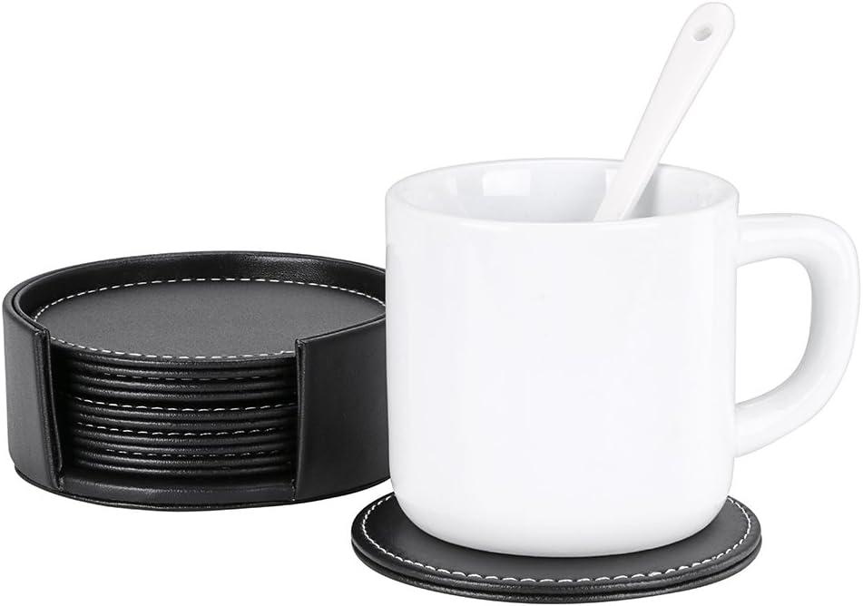 Round Noir vin bi/ère Lot de 6 dessous de verre en cuir de forme carr/ée avec support Btsky rond. pour tasse Prot/ège la table verre caf/é Verre