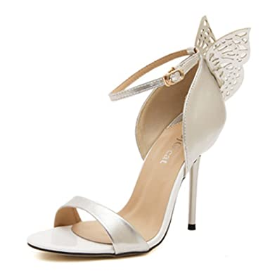 164cc97a672 Ghope Women Ankle Strap Sandals Heel Pumps Butterfly Heels Boots (Silver