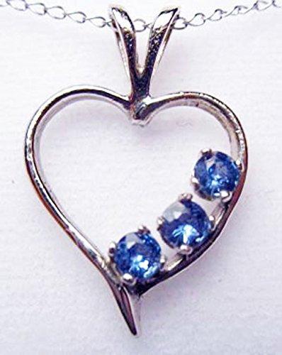 MONTANA YOGO SAPPHIRE 3 STONE OPEN HEART PENDANT STERLING SILVER by Mac's Gems